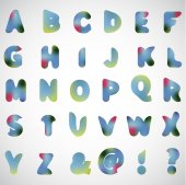 English watercolor alphabet — Stockvektor