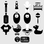 Family planning icons set — Vetor de Stock