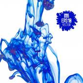 Blue ink cloud swirling in water — Stock vektor