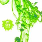 Green ink cloud swirling in water — Stock Vector