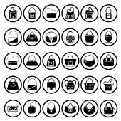 Black handbags icons — Stockvektor