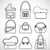 Icons female bags — Stock vektor