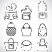 Icons female bags — Vetorial Stock