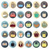 Purse flat icon set — Stock Vector