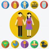 Family planning flat icons — Stock Vector