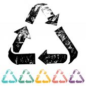 Recycle sign flat icons — Vector de stock