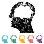 Brain Heads Icons — Stock Vector