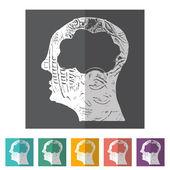Brain Heads Icons — Stok Vektör