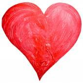 Acuarela pintada corazón rojo — Vector de stock