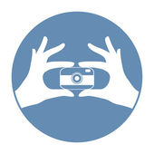 Hipster taking self photo — Stock Vector