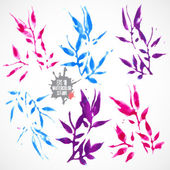 Watercolor  leaves  set — Stock Vector
