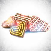 Heart shaped valentine chocolate cookies — Vector de stock