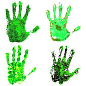 Green eco hands set — Vetor de Stock