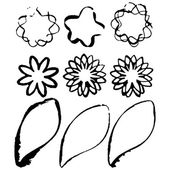 Set of grunge flower shapes — Stock Vector