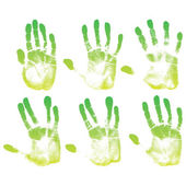 Green eco hands set — Stock vektor