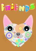 Cute cat face card — Stock Photo