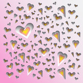 Cut hearts background, paper look — Stock Photo