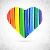 Rainbow colors heart shape — Vetor de Stock