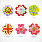 Abstract flowers icons set — Stock Vector