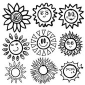 Sun icons set — Stock Vector