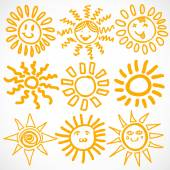 Set of sun symbols. — Stock Vector