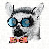 Lemur in blue glasses — Stock Vector
