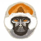 Smiling cheerful monkey — Vector de stock