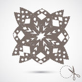 Paper snowflake with scratches — Stock Vector