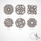 Set of 6 vector snowflakes. — Stock Vector