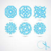 Set of 6 vector snowflakes — Stock Vector