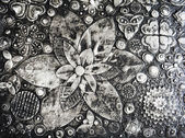 Black and white grunge flowers painting, — Stock Photo