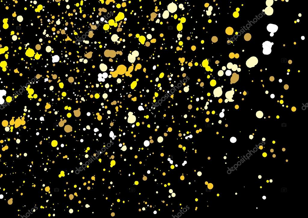 Gold glitter explosion on black background made of spray paint. — Grafika wektorowa ...