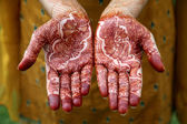 Beautiful hand with henna design  — Stock Photo