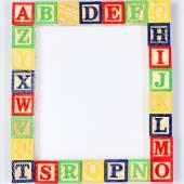 ABC wooden blocks on white — Stock Photo