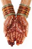 Woman hands with henna design — Stock Photo