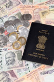 Indian currency with passport — Stock Photo
