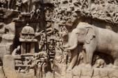 Bas-relief sculpture in Mammallapuram, India — Stock Photo