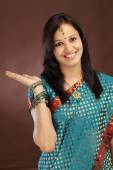 Surprised young Indian traditional woman — Stock Photo