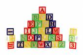 ABC wooden blocks on white — Stock Photo