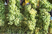 Fresh green grapes in a market — Stock Photo
