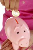 Hand inserting a coin into piggy bank — Stock Photo