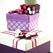 Various sizes gift boxes on white — Zdjęcie stockowe #76338359