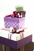 Various sizes gift boxes on white — Stok fotoğraf