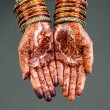 Woman hands with henna design — Stock Photo #76343585