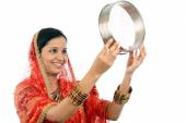 Young Indian woman celebrating Karva chauth festival — Stock Photo