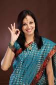 Young Indian traditional woman making OK sign — Stock Photo