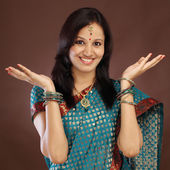 Happy young Indian traditional woman — Stock Photo