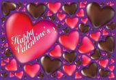 Happy Valentines Hearts And Chocolates Card Background — Vecteur