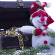 Snowman and a treassure chest on white — Stock Photo #61629615