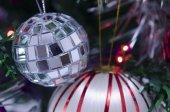 Disco Christmas ball on a Christams tree — Stock Photo